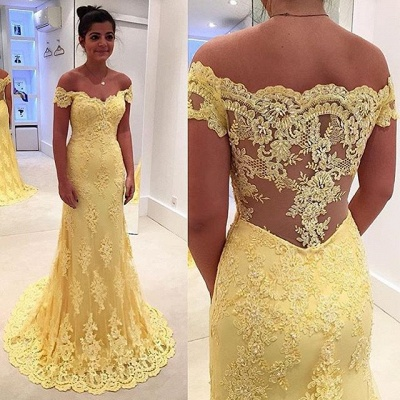 Yellow Long Evening Dresses Lace Cheap Mermaid Evening Wear Party Dresses Cheap_3