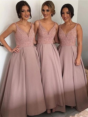 Long Bridesmaid Dresses Pink A Line Spaghetti Straps Dresses For Bridesmaids_1