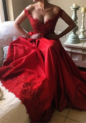 Designer Evening Dresses Long Red Lace A Line Floor Length Evening Wear Prom Dress_2