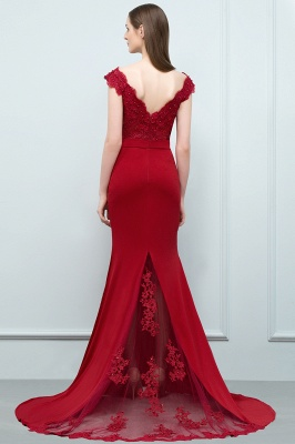 Cheap evening dresses red with lace mermaid evening wear for sale online_5