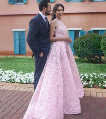 Elegante Rosa Abendkleider Lang Günstig A Linie Abendmoden Abiballkleider_2