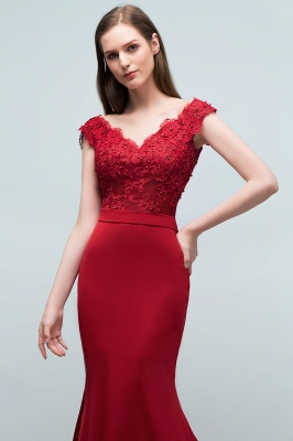 Cheap evening dresses red with lace mermaid evening wear for sale online_4