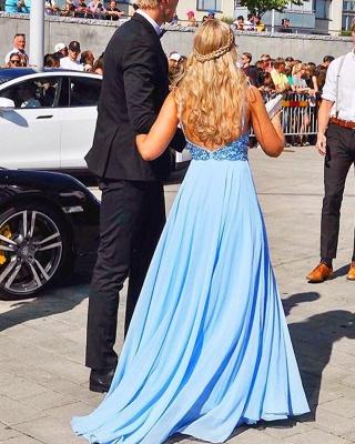 Chiffon Evening Dresses Long Cheap | Backless blue evening dress_4