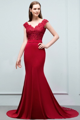 Cheap evening dresses red with lace mermaid evening wear for sale online_3