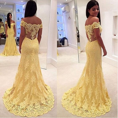 Yellow Long Evening Dresses Lace Cheap Mermaid Evening Wear Party Dresses Cheap_2