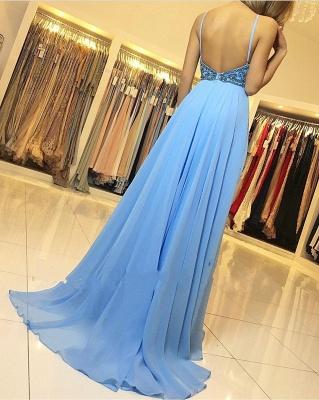 Chiffon Evening Dresses Long Cheap | Backless blue evening dress_3
