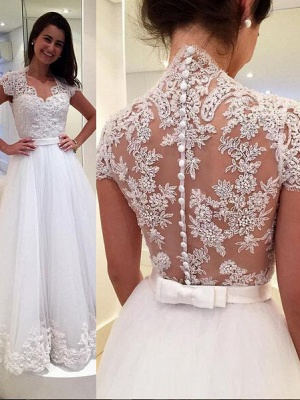 Vintage White Wedding Dresses With Lace Tulle Wedding Gowns Cheap Online_2