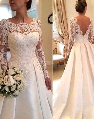 Sexy wedding dresses with sleeves lace a line wedding dresses cheap_1