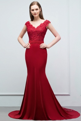 Cheap evening dresses red with lace mermaid evening wear for sale online_1