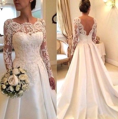 Sexy wedding dresses with sleeves lace a line wedding dresses cheap_2