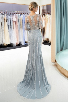 Luxury silver evening dresses with sleeves crystal prom dresses evening wear_5