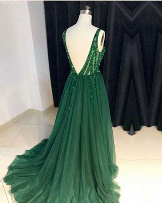 Chic Green Evening Dress Long Cheap V Neck Tulle Prom Dresses Evening Wear Online_2