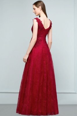 Designer Wine Red Evening Dresses Long Cheap Lace A Line Evening Wear Online_4