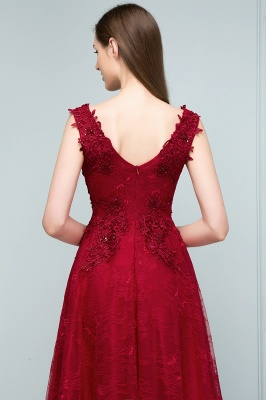 Designer Wine Red Evening Dresses Long Cheap Lace A Line Evening Wear Online_5