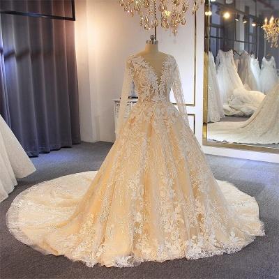 Luxus Brautkleider Mit Ärmel | A Linie Hochzeitskleider Spitze Online_2