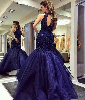 Blue prom dresses long princess tulle evening wear party dresses_3