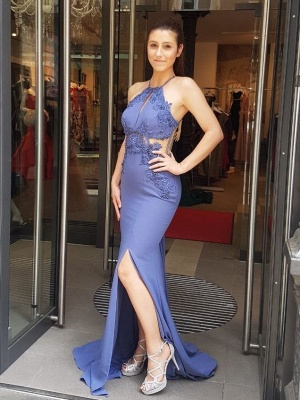Simple evening dresses long with lace cut chiffon prom dresses cheap prom dresses_1