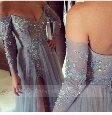 Elegant Silver Evening Dresses Long With Sleeves Lace Tulle Evening Wear Party Dresses Cheap_3