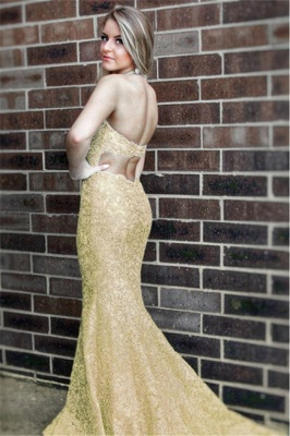 Elegant golden evening dresses long cheap lace evening dresses prom dresses online_3