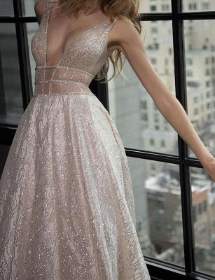 Elegante Abendkleider Lang Günstig Pailletten A Linie Abiballkleider Abendmoden_3
