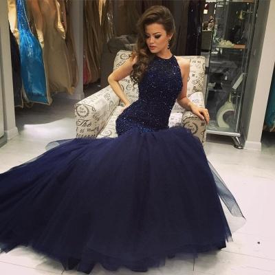 Blue prom dresses long princess tulle evening wear party dresses_5