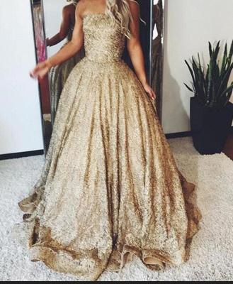 Golden Princess Wedding Dresses Sequins Floor Length Bridal Fashion Wedding Gowns Cheap_2