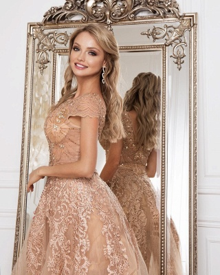 Luxury evening dresses with lace | Cheap prom dresses floor length_1