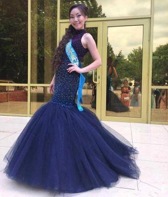 Blue prom dresses long princess tulle evening wear party dresses_4