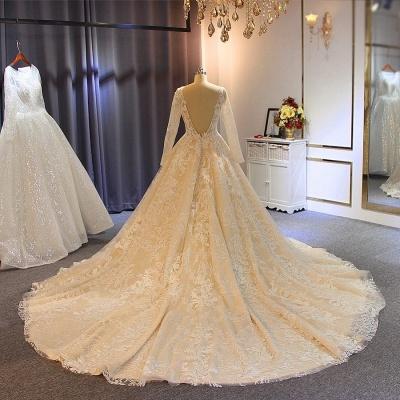 Luxus Brautkleider Mit Ärmel | A Linie Hochzeitskleider Spitze Online_4