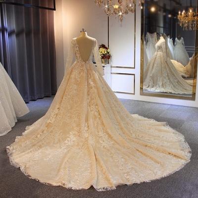 Luxus Brautkleider Mit Ärmel | A Linie Hochzeitskleider Spitze Online_3