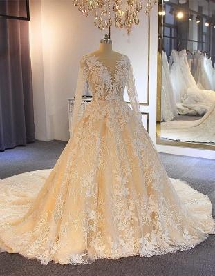 Luxus Brautkleider Mit Ärmel | A Linie Hochzeitskleider Spitze Online_1