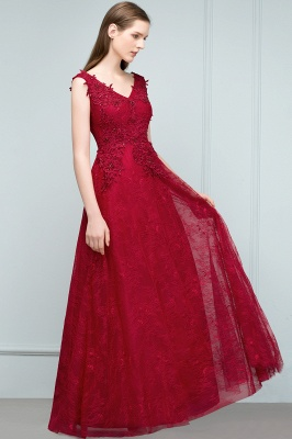 Designer Wine Red Evening Dresses Long Cheap Lace A Line Evening Wear Online_3
