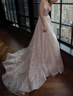 Elegante Abendkleider Lang Günstig Pailletten A Linie Abiballkleider Abendmoden_2
