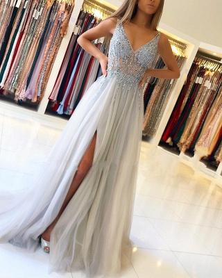 Elegant Silver Evening Dresses Online | Prom Dresses Sheath Dresses Online_1