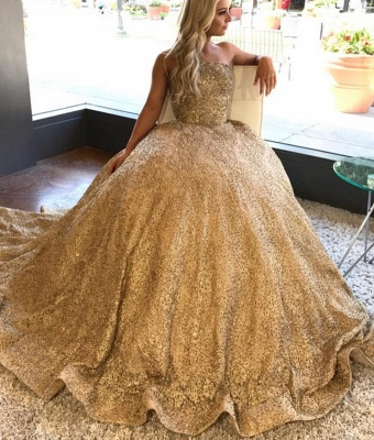 Golden Princess Wedding Dresses Sequins Floor Length Bridal Fashion Wedding Gowns Cheap_1