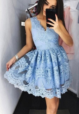 Beautiful Cocktail Dresses Short Lace A Line Evening Dresses Online_1