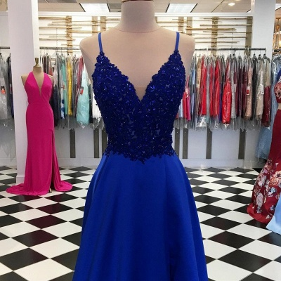 King Blue Evening Dresses Long Cheap | Floor-length evening wear with lace_2