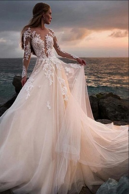 Luxury wedding dresses with sleeves | Wedding dresses a line with lace_3
