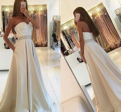 White Evening Dresses Long With Lace A Line Satin Evening Wear Prom Dresses_3