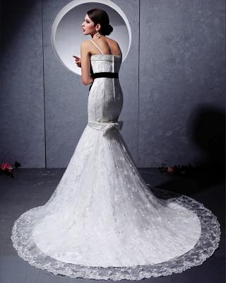 Modern Brautkleider Weiß Spitze Spaghetti Strap Meerjungfrau Brautmoden Hochzeitskleider Mit Schleppe_3