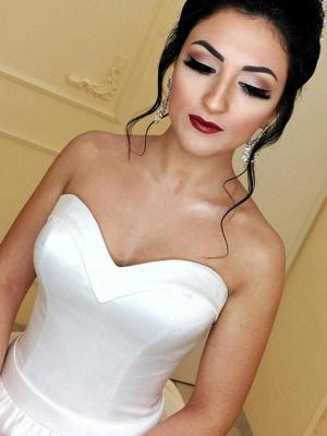 Schlichte Brautkleider Prinzessin Weiß Satin Hochzeitskleider Online_3