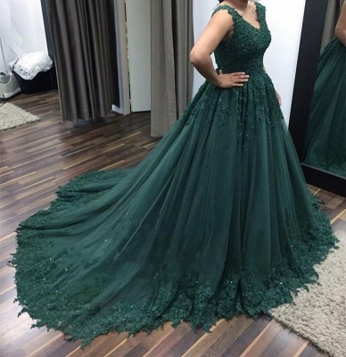 Modern Evening Dresses Green With Lace Tulle Princess Evening Wear Prom Dresses_2