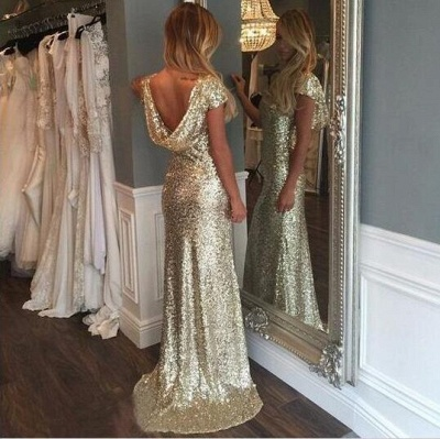 Simple Evening Dresses Long Gold Sequins Prom Dresses Evening Wear_3