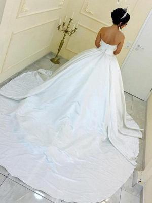Schlichte Brautkleider Prinzessin Weiß Satin Hochzeitskleider Online_2