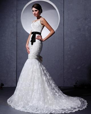 Modern Brautkleider Weiß Spitze Spaghetti Strap Meerjungfrau Brautmoden Hochzeitskleider Mit Schleppe_2