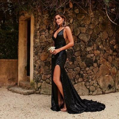Modern Abendkleid Lang Schwarz | Abiballkleider Günstig Online_3