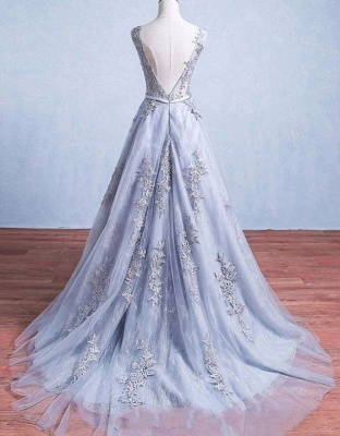 Elegant Silver Wedding Dresses Lace Straps Tulle Bridal Gowns Wedding Dress_3