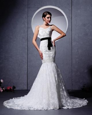 Modern Brautkleider Weiß Spitze Spaghetti Strap Meerjungfrau Brautmoden Hochzeitskleider Mit Schleppe_5
