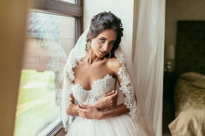 Princess White Wedding Dresses with Lace Tulle Beaded Bridal Wedding Dresses_5