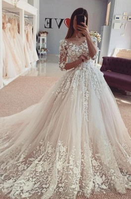 Beautiful wedding dresses with sleeves | Lace Bridal Wear Online_1
